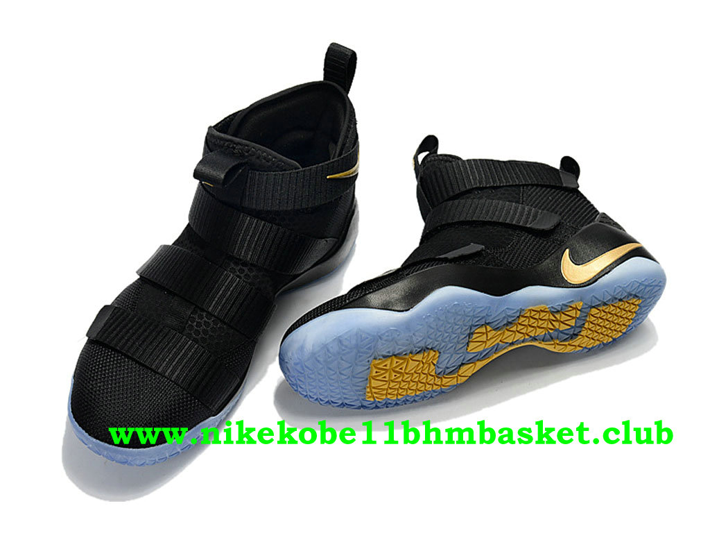 Homme Nike Zoom LeBron Soldier 11 ID Prix Pas Cher Noir Blanc Or 897644_003